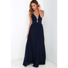 Wholesale dresses long maxi womens chiffon resale online – Maxi Sun Dresses Chiffon Solid O Neck Pleated Floor Length Long Backless Womens Sexy Party Night Club Dress Vestidos De Fiesta