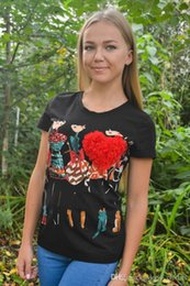 $enCountryForm.capitalKeyWord Australia - Wholesale-women tops Appliques Red Heart t shirt women Female Short Sleeve Print poleras de mujer camisas femininas 2019 Rhinestone Tops