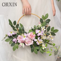 $enCountryForm.capitalKeyWord UK - wedding props ring Iron art single pole ring curtain circle hollow round wreath stage Artificial flower decor ceiling curtain