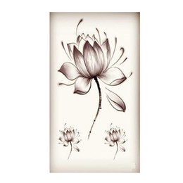 $enCountryForm.capitalKeyWord Australia - Wholesale New Water Transfer Temporary Tattoos Stickers Waterproof Fake Tattoo Stickers Colored Water Lily Lotus Flower Hot Sale