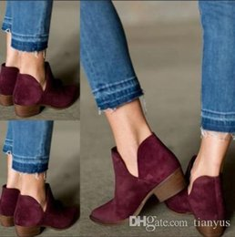 Wholesale 80 lower online – design Autumn Women Pumps Low Heels For Female Casual Square Heel Shoes Fashion Chunky Heel Solid Ankle Boots Female Concise Shoe Footwear L