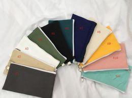 $enCountryForm.capitalKeyWord NZ - Coloful blank canvas zipper Pencil cases pen pouches cotton cosmetic Bags makeup bags Mobile phone clutch bag organizer SN2686