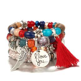 $enCountryForm.capitalKeyWord Australia - New Bohemian Beaded Bracelet Wings Letter Tassel Flowers Beads Bangle 4PCS Set Multilayer Stretch Stackable Bracelets Jewelry