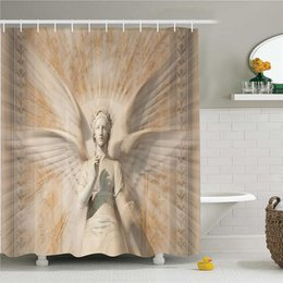 Curtains Styles Designs UK - Sculptures Shower Curtain, Statue of Angel Woman in Medieval Cathedral Site Vintage Style Mythical Design, Fabric Bathroom Decor Set