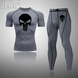skull sports set NZ - Punisher Men's Compression Running jogging Suits Clothes Sports Set t shirt And Pants Gym Fitness workout Skull Tights clothing