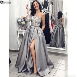one sleeve evening dresses Australia - Grey Satin Evening Gown 2019 A-line Sexy Split White Lace Long Prom Dresses With Pockets One Shoulder Long Sleeves Evening Dress SH190828