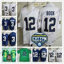 ND  12 Ian Book White Rush Gold Cotton Bowl Jersey Notre Dame Fighting Irish   3 Joe Montana Green Champions 30th Vintage Navy Blue 07f5a5952