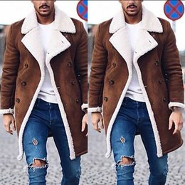 Wholesale trench coat brown resale online - Men s Fur Fleece Trench Coat Overcoat Lapel Warm Fluffy Jacket Buttons Outerwear