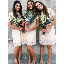 $enCountryForm.capitalKeyWord Australia - Knee Length Cute Lace Bridesmaid Dresses 2020 Short Sleeves Jewel Zipper Prom Dress Cocktail Party Wedding Guest Dress Boho Wedding Dress