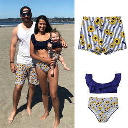 c87d6effbe 2019 New Summer Family Matching Clothes Suits Mother Daughter Flower Bikini  Set Swimwear Father Son Casual Swimming Trunks