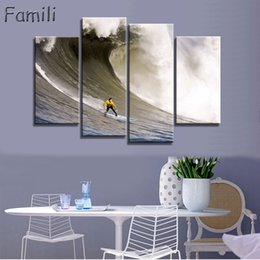 wave art canvas sets Canada - 4Pieces set Art Modern sea green blue beach Wave picture decoration canvas painting wall picture for living room home decor unframed