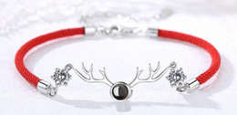Wholesaler Red Plates Australia - Korean version of the simple red rope antlers a deer have your projection silver plated couple bracelet