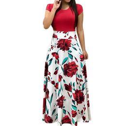 70ba583e0c Nibesser Women Floral Print Summer Long Maxi Dress 2019 Casual Short Sleeve  Boho Beach Sexy Patchwork Party Dress Vestido Verano Y190516