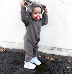 Baby Boy Winter Jumpers Australia - New Spring Autumn Baby Rompers Cute Cartoon Rabbit Ear Hooded Newborn Infant Girl Boy Jumpers Costume Kids Baby Outfits Clothes J190524