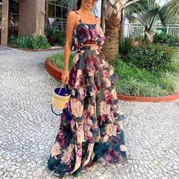 long vest tops for women NZ - Hot Casual Fashion Summer Women Fashion Floral Printed Sling Vest Crop Top Ruffle Long Skirt Set for women Skirts Holiday Set