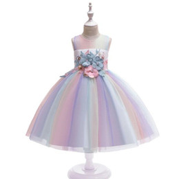 4t rainbow tutu Australia - New Fashion Girls Dress Lace Flowers Rainbow Baby Girl Wedding Gown Party Dresses Children Clothing