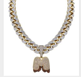 $enCountryForm.capitalKeyWord Australia - Individual Volcanic Magma Big Button Big Letter Hip-hop Necklace Zircon Letter Free Combination Cuban Chain