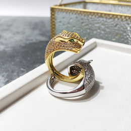 $enCountryForm.capitalKeyWord NZ - Hot Sale Fashion Lady Brass Full Diamond Leopard Panther Wedding Engagement 18K Gold Plated Open Rings 2 Color One Size