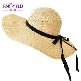 ENJOYFUR Sun Hats For Women Big Brim Beach Hat Floppy Foldable Bowknot Straw  Hat 29390f137223