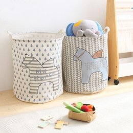 storage basket baby Canada - Hot Sale Kids Toy Storage Bag horse Cotton Children Room Organizer Folding Baby Laundry Bag With Handle Clothes Storage Laundry Basket