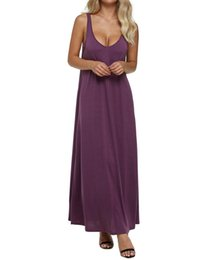 $enCountryForm.capitalKeyWord UK - Dress Women Summer Sexy V Neck Backless Solid Sleeveless Long Maxi Tank Dresses Vintage Casual Loose Vestidos Plus Size designer clothes