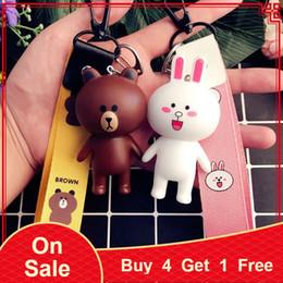 Discount bunny gifts women - Handmade Korean Fashion Cartoon Bear Brown Bunny Cony Creative Wristband Keychain Keyring Bag Pendant Birthday Gift for