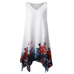 $enCountryForm.capitalKeyWord NZ - Women Summer Tank Dress Women Plus Size Floral Print Chiffon Sleeveless Irregular Hem Mini Dress Boho Beach Sukienki#30