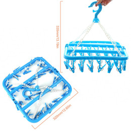 Clothes Hanging Clips Australia - heap Drying Racks & Nets Multifunction 32 Clips Pegs Foldable Hanging Clothes Drying Rack Windproof Bra Underwear Socks Clothes Clip...