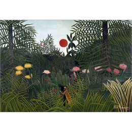 hand painted landscape oil painting Canada - Jungle landscape with Setting Sun oil painting Henri Rousseau hand painted Landscapes artwork paintings for wall decor