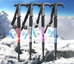 $enCountryForm.capitalKeyWord NZ - Outdoor Ultra-light Folding Walking Poles Curved handle Carbon Fiber Trekking Poles Trekking Stick Alpenstock Carbon Walking Sticks 20pcs