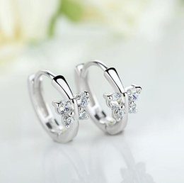 $enCountryForm.capitalKeyWord Australia - Baby Princess 925 Silver Butterfly Zircon Small Hoop Earring For Girls Child Wome Beautiful Aros Huggies Earring Jewelry E046