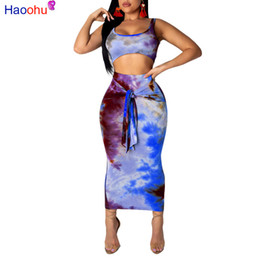 two piece club clothing Australia - HAOOHU Sexy Two Piece Set Club Outfits Tie Dye Crop Top and Midi Skirt Set Bodycon 2 Piece Summer Clothes Women Matching Sets