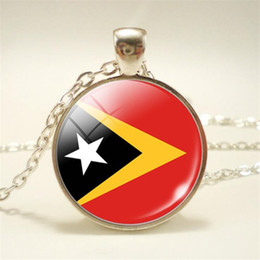 $enCountryForm.capitalKeyWord Australia - Hot Timor Leste National Flag World Time Gem Glass Cabochon Statement Necklace Pendant Sweater Chain Charm Choker Gift Jewelry for Women Men