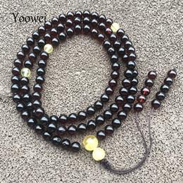 $enCountryForm.capitalKeyWord Australia - Yoowei 6mm Natural Amber Bracelet Genuine 108 Beads Cherry Amber Rosary Mala Meditation Buddhist 70cm Necklace Men Jewelry