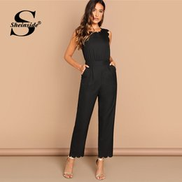elegant black jumpsuits for women NZ - wholesale Elegant Scallop Edge Solid Jumpsuit Summer Black Jumpsuits For Women 2019 Sleeveless Mid Waist Workwear Maxi Jumpsuit