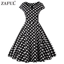 ZAFUL New Women Vintage Dress black polk Dot Retro 50s Hepburn Short Sleeve  Ball Gown plus size Party dresses feminino Vestidos 7bf054f95373