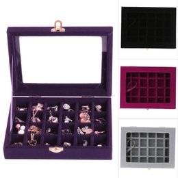 24 Display Case NZ - 24 Grids Velvet Jewelry Box Rings Earrings Necklaces Storage Display Box Makeup Holder Case Organizer Ear Studs Jewelery