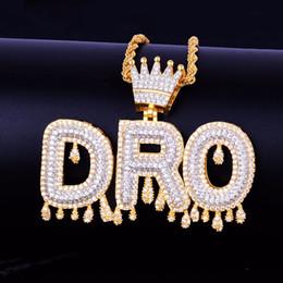Pendant Bails Australia - Custom Name Gold Crown Bail Drip Initials Bubble Letters Chain Necklaces & Pendant Cubic Zircon Men Hip Hop Jewelry