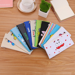 old storage boxes NZ - 1pc 5pcs 12 Colors Simple Cartoon Comic Canvas Pencil Case Gel Pen Box Pencil Bag Kids Storage Stationery School Supply Gift