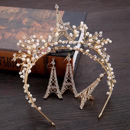 Antique rhinestone eArrings online shopping - handmade tower crown gold hairband earrings ring bridal headdress jewelry New style