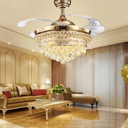 lamps lighting ceiling fans Canada - 42 inch LED Invisible ceiling fan light ceiling crystal fan light with remote control simple modern Retractable Belt Pendant lamp MYY