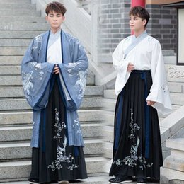chinese costumes men Canada - Ancient Chinese Costume Men Stage Performance Outfit For Dynasty Men Hanfu Clothing Satin Robe Chinese Traditional Dress DN4905