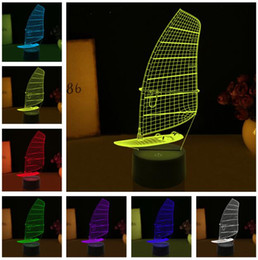 Gift Boat Australia - Marine Sailing Boat Ship 3D Night Light Table 7 Color Changing Lamp Fixture Home Decor Sleep Lighting Christmas Crewman Best Birthday Gifts
