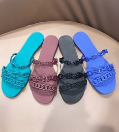 Chains designs online shopping - New woman Designer shoes chain design slippers sandals pvc jelly slides Chaine d Ancre High Quality Beach Flip Flops with Box