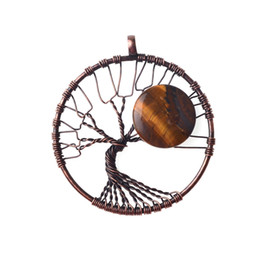 $enCountryForm.capitalKeyWord Australia - Moon Rolling Stone Tree of Life Pendant, Handmade Line Wrap Healing Jewelry DIY Necklace Earrings, Keychain JewelryMoon Rolling Stone Tree o
