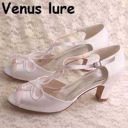 mint sandals 2019 - Wholesal Peep Toe Shoe White Satin Sandals Block Heel 8CM Custom Handmade discount mint sandals