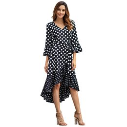a38a4cb88 Fashion-Ruffle Black Polka Dot Summer Maxi Vestido de manga larga Boho Sexy  Vintage Dress Primavera blanca Vestidos casuales para mujeres