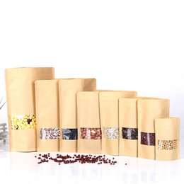 free kraft paper Australia - Hot 50pcs lot Brown Zipper Kraft Paper Bags Standup Gift Packaging Bags For Foods Candy Coffee Jewelry Ziplock Bag Free Shipping