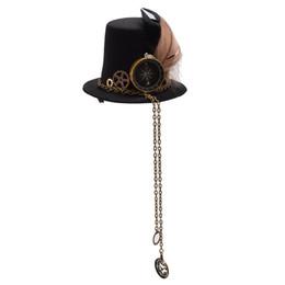 China Apparel Accessories Headwear 1pc Girls Steampunk Mini Small Top Hat Hair Clip Gear Clock Lolita Punk Head Wear supplier girl sexy hat suppliers
