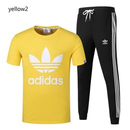 Wholesale men s piece tracksuit online – oversize 2019 New Arrival Men Tracksuits Men Women Summer T shirt Long Pants Two Pieces Sport Style Clothes Men Summer Slim Sportswear Size S XL